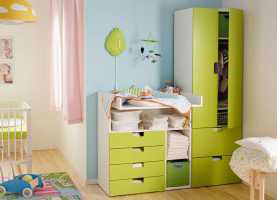 Imponente Ikea Camerette Bimbi Stuva A Baby Room With Stuva Changing Table And Wardrobe In Green An