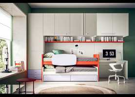 Magnifico Camerette A Ponte H 220 Start Up 08 Red And Dove Grey Kids Bedroom Set - Cleve