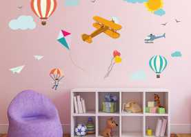 Eccellente Stickers Cameretta Cielo Kit Cameretta Flying In The Sky Cielo Wall Sticker Adesivo da Mur