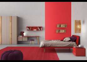 Magnifico Camerette Clever Foto Start Up 08 Red And Dove Grey Kids Bedroom Set - Cleve