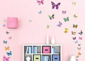 Fresco Stickers Murali Cameretta Bimba Decowall Dw-1201 38 Farfalle Colorate Adesivi da Paret